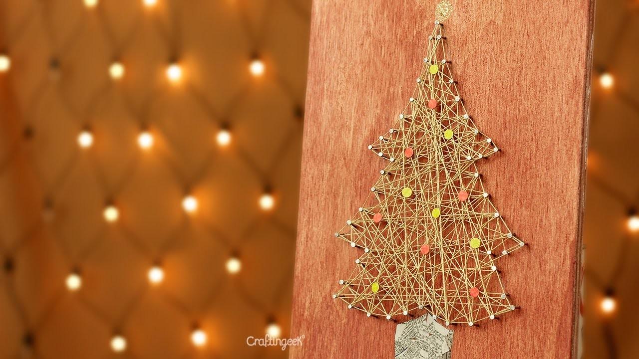 Pino de navidad: Decoración con hilo . Christmas DIY