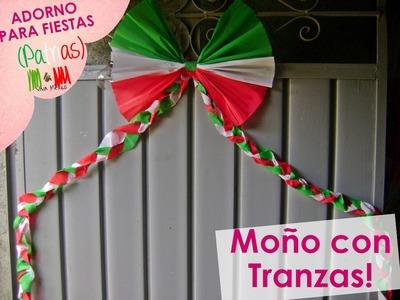 @xoOlexiitOo❥Adorno para fiestas Patrias: Moño con Trenzas (Cadena.Moño Papel Crepe)