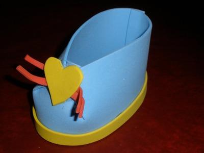 Zapatito babyshower goma eva, fácil y rápido. Manualidades, DIY. Fast Shoe foam, foami.