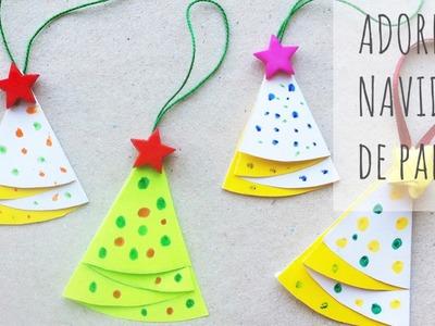 Adorno casero de  Navidad: árbol de papel