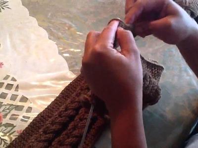 Bufanda con dos trenzas en agujas parte 1