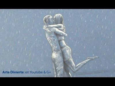 Cómo dibujar una pareja de enamorados besándose bajo la lluvia -  Arte Divierte.