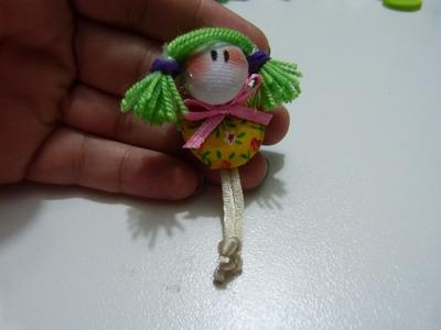 DIY caritas de muñecas miniatura con botones  tela  y cintas . clips miniature doll hair