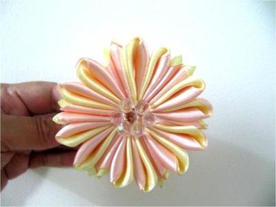 Moños flores matizadas para el cabello en cintas dobladas