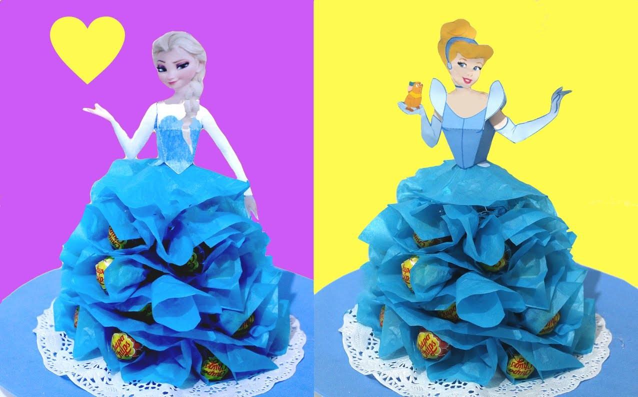 Centro de mesa de Princesas con Chupa Chups o caramelos. Lollipop princess