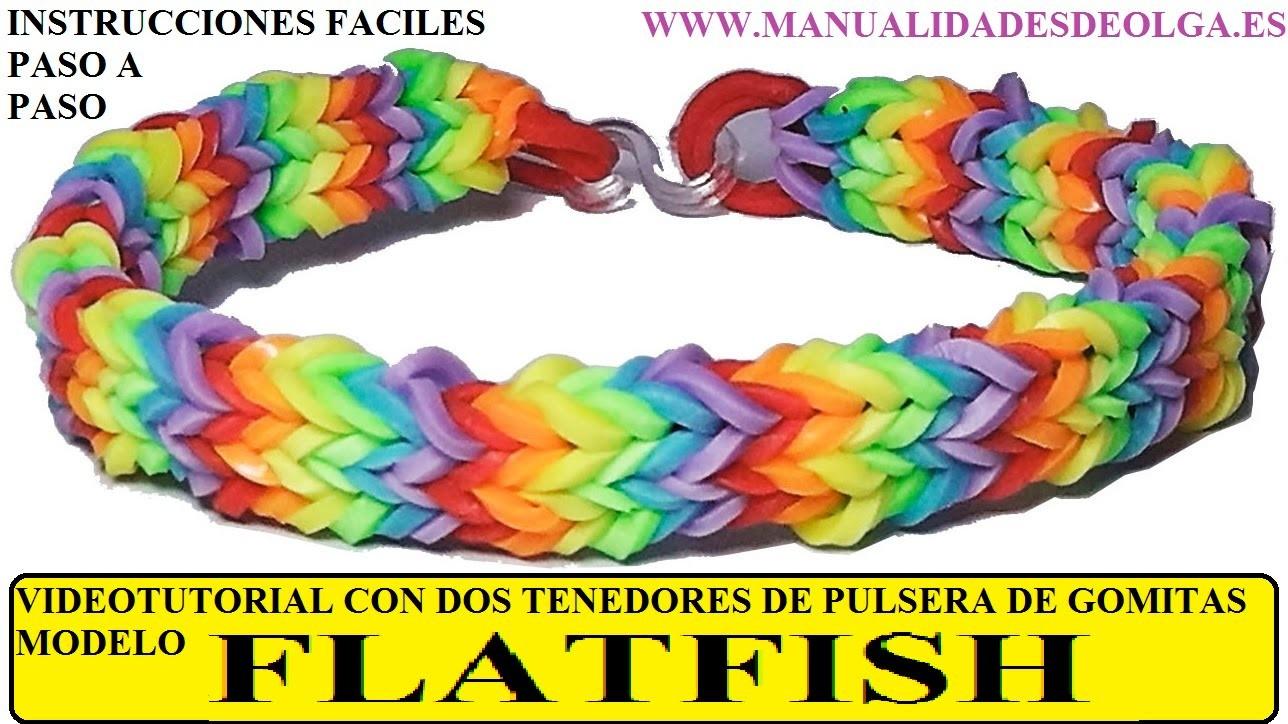 COMO HACER PULSERA DE GOMITAS FLATFISH O QUADFISH PLANA CON 2 TENEDORES VIDETUTORIAL DIY