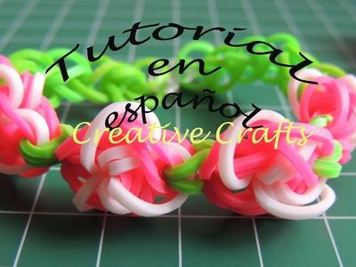 Como hacer una pulsera de gomitas Jardin de Rosas. Rainbow Loom Rose Garden.