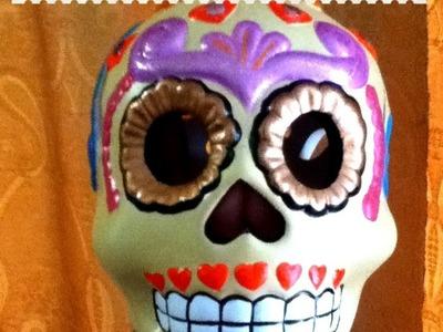 DIY pinta cerámica calavera 3 pintura acrílica Día de Muertos