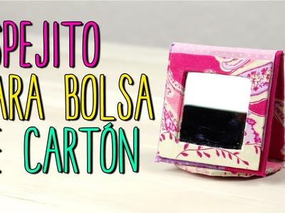 Espejo Reciclado para Bolsa - Espejo Casero de Cartón y Tela - Cartonaje
