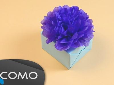 Flores de papel crepe para regalos