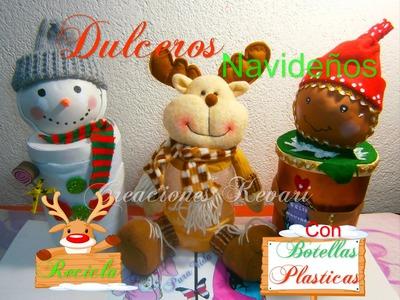Muñeco de nieve Dulcero con Botellas Pet.Dulcero Navideño Reciclado