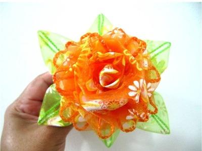 Rosas en cintas de organza de una sola pieza moños para el cabello