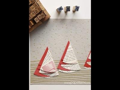 Tarjetas Navideñas hechas a mano originales con árboles de papel (MUY FÁCIL)