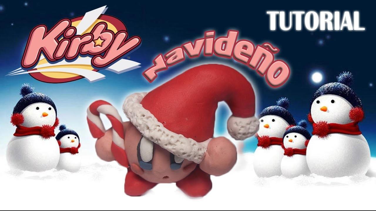Tutorial Kirby Navideño en Plastilina. How to make a Christmas Kirby with Plasticine