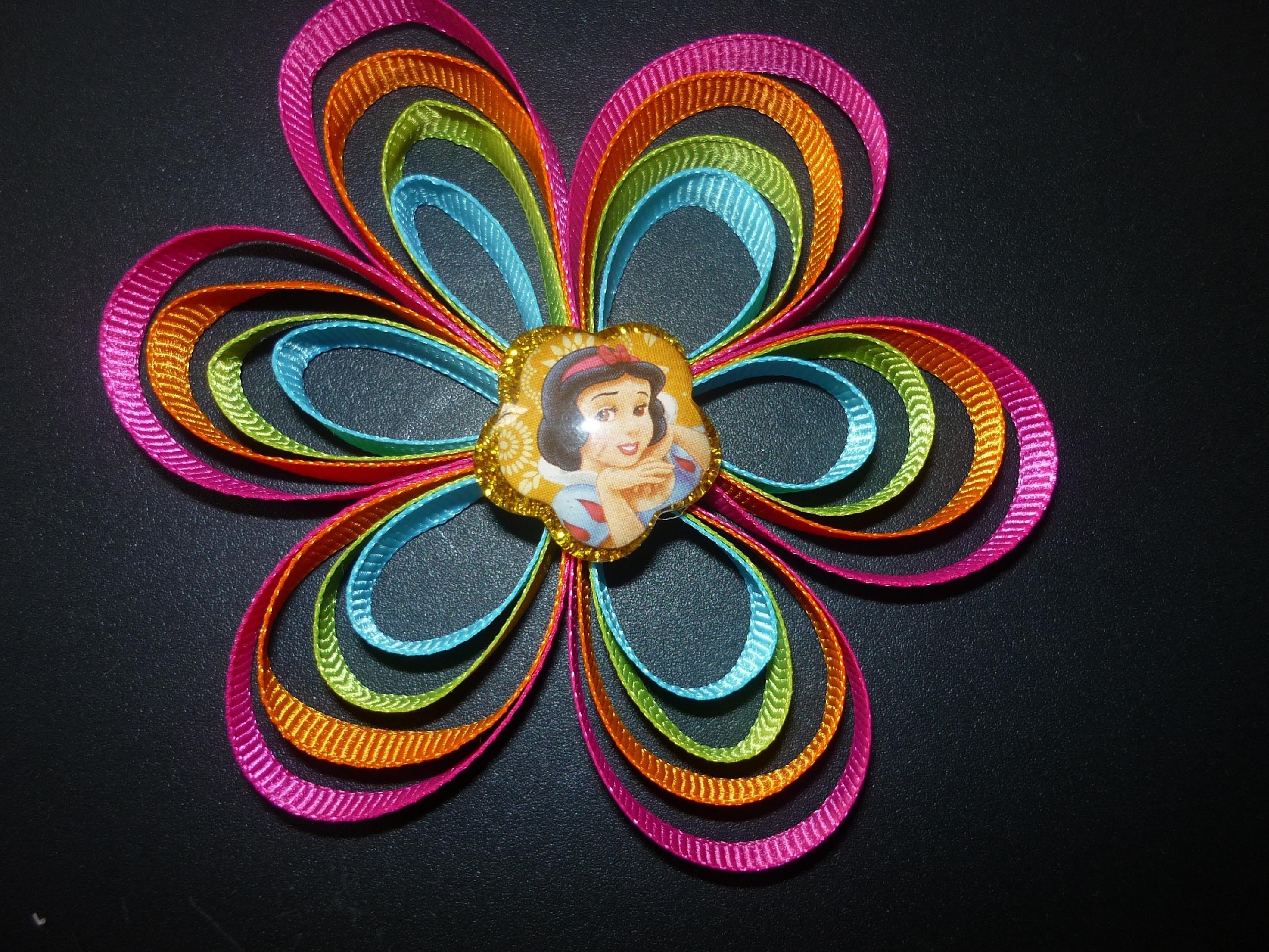 Flores con cinta delgada gros o bies para el cabello para  las niñas  No.051