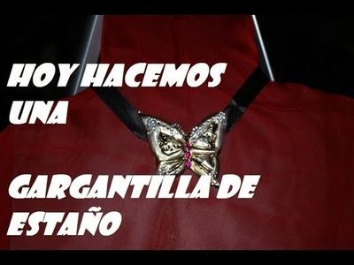 GARGANTILLA DE ESTAÑO CON FORMA DE MARIPOSA
