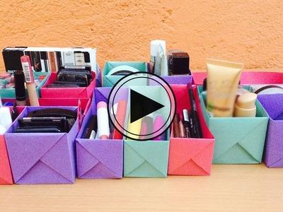 Organiza tu maquillaje con hojas de papel. BigCrafts