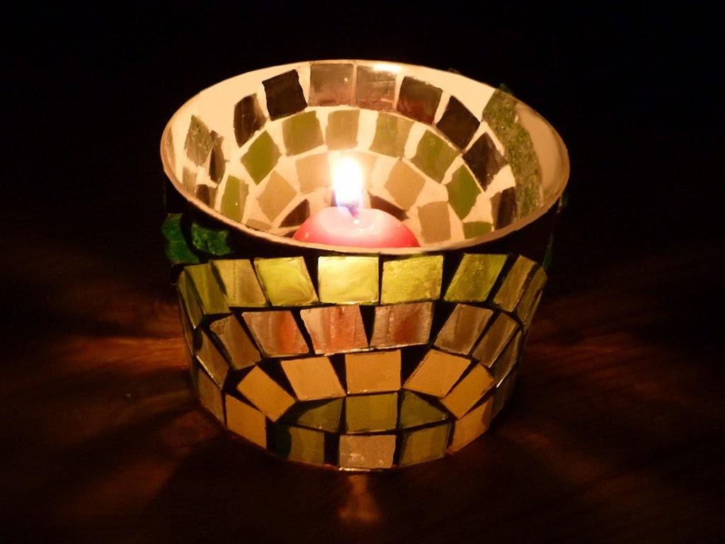 Portavelas de mosaico de vidrio