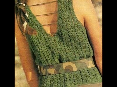 Blusa musculosa con escote en espalda a crochet