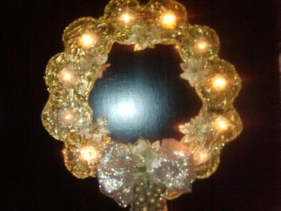 CORONA DE NAVIDAD ILUMINADA HECHA CON CDS . HOW TO MAKE A LIGHTED CHRISTMAS WREATH OUT OF OLD CD
