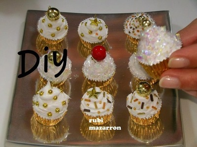 Diy. Cupcakes de navidad para el arbol ( manualidades )