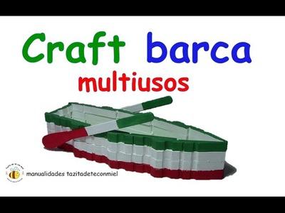 Manualidades barca con pinzas de madera multiusos. craft boat