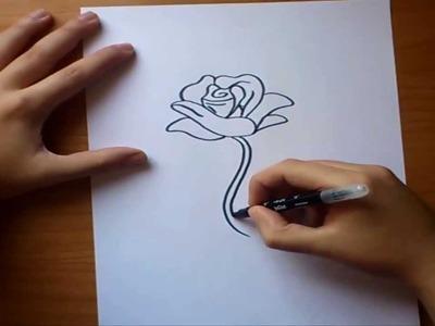 Como dibujar una rosa paso a paso   How to draw a rose