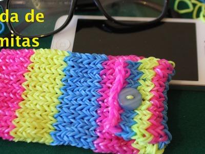 Cómo hacer con gomitas o ligas una funda. Rainbow loom phone case