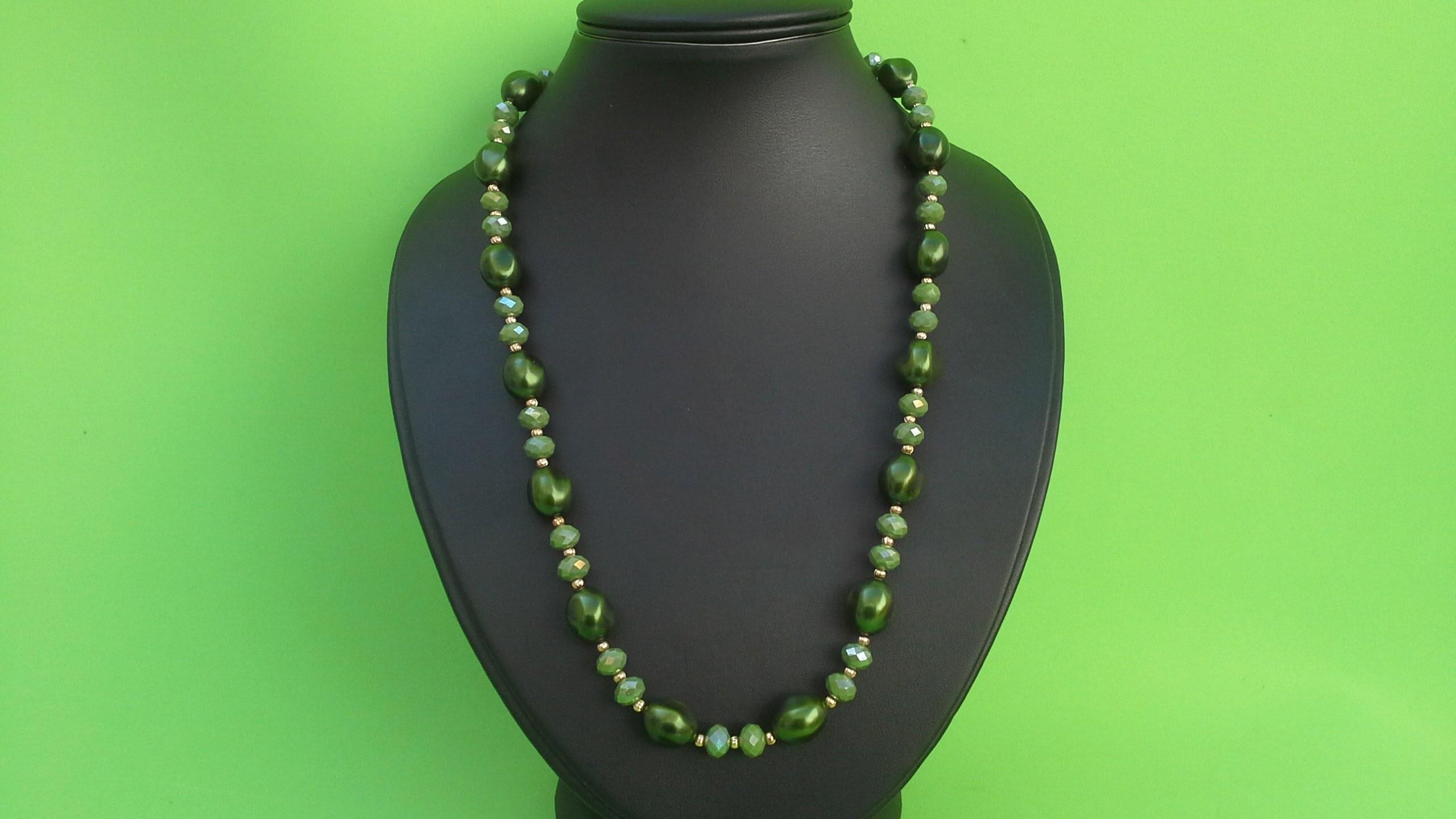Como hacer un collar con perlas. facil y bonito.