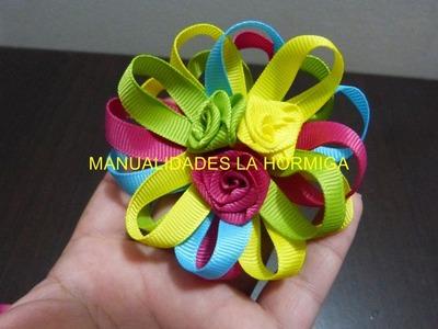 Como hacer una flores multicolores faciles  para decorar peinados No.187