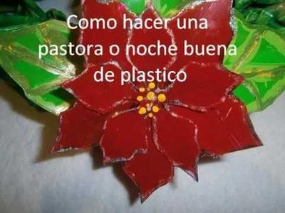 Flores de Noche buena con botellas PET.Easy Poinsettia Flowers Tutorial