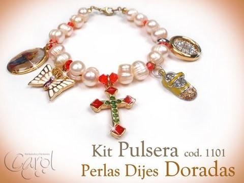 KIT 1101 Kit pulsera perlas dijes doradas x und