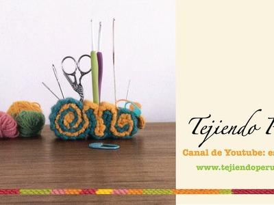 Mini tutorial: organizador de accesorios de tejido o costura tejido a crochet