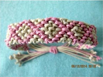 Pulseras Bracelets macramé rombos rellenos paso a paso