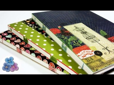 Como Hacer Encuadernacion Casera Facil Cuadernos 120 paginas Tutorial DIY Scrapbook Pintura Facil
