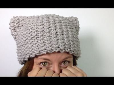 Cómo tejer un gorro gatito (gorro con orejitas Kitty Hat) en telar [MUY FÁCIL]