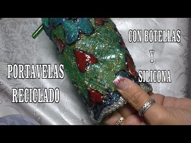 DIY PORTAVELAS , DE BOTELLA PET Y SILICONA