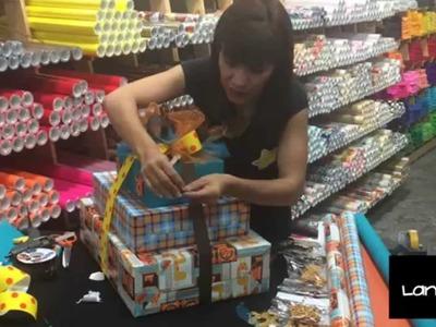 Linda Envoltura de Bebe~ (3 regalos en cascada, azul, amarillo, con animalitos Safari)