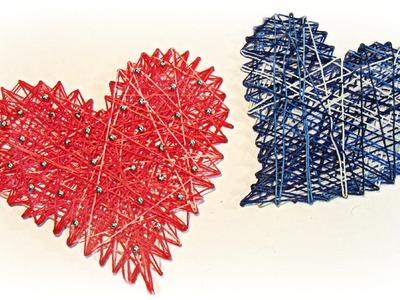 Manualidades para San Valentín: Cómo hacer corazones de hilo. How to make thread hearts