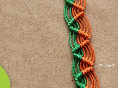 Pulsera Zig-zag de Macramé Cavandoli: Diseño sencillo.