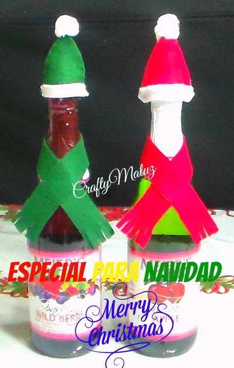 Tutorial botellas decoradas navide as especial navidad - Botellas decoradas navidenas ...