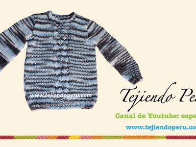 Chompa o sweater tejdo en dos agujas para niños (Parte 3)