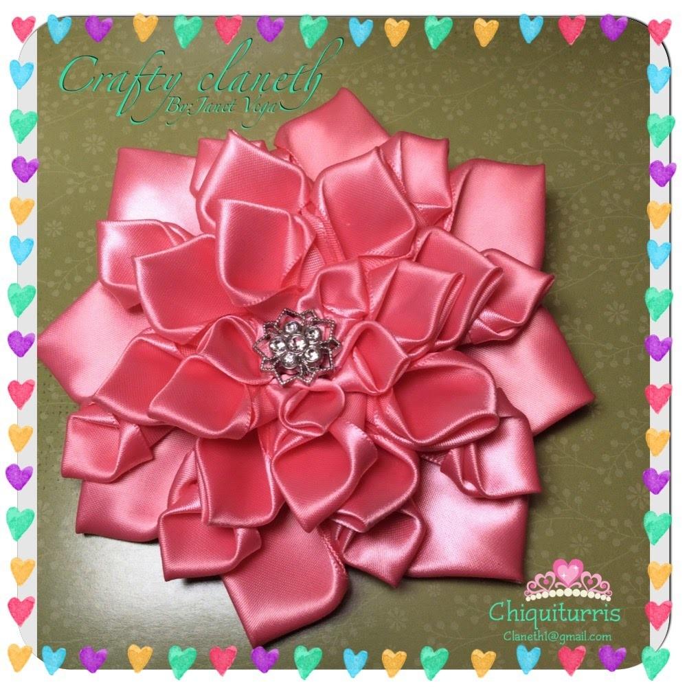 DIY Como hacer una flor kanzashi con Liston satinado #chiquiturris