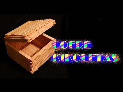 Cómo hacer un cofre baúl con palitos de paleta kikoletas TUTORIAL Inerya viris