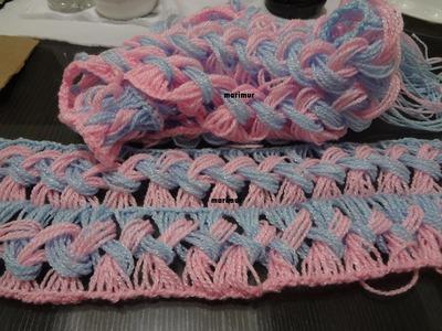 Como tejer una bufanda de  dos colores con marimur  573