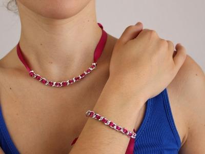 DIY: Cómo hacer un collar y una pulsera con lazo y cadena.