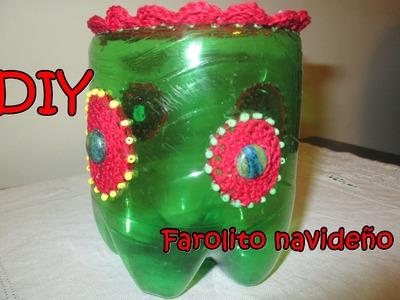 DIY FAROLITO DE NAVIDAD CON BOTELLA PLASTICA Y CROCHET