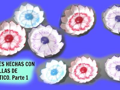 FLORES RECICLADAS MANUALIDADES CON BOTELLAS DE PLASTICO