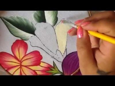 Pintura en tela botón de flor del higo # 3 con cony