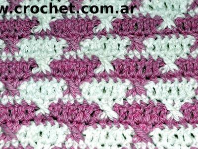 Punto Fantasía N° 43 en tejido crochet tutorial paso a paso.